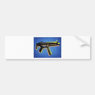 MP5 Sub Machine Gun on Blue Bumper Sticker