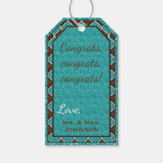 MQF Sequins-Aqua-Chocolate-HANG TAGS Pack Of Gift Tags