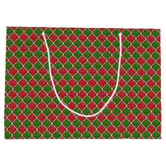 MQF Sequins-RED-WHITE-GREEN-GIFT BAG L