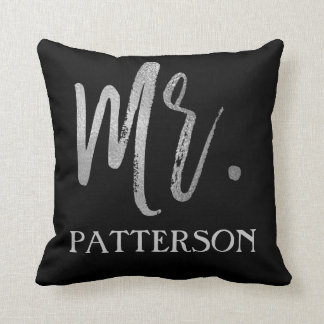 Mr. and Last Name Faux Silver Foil Pillow