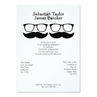 "Mr and Mr Mustache And Glasses Wedding 4.5"" X 6.25"" Invitation Card"