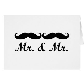 MR AND MR MUSTACHE GAY WEDDING CARD CUSTOMIZABLE