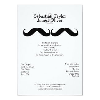 "Mr and Mr Mustache Wedding 4.5"" X 6.25"" Invitation Card"