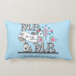 Mr and Mr Personalized Gay Wedding Gift Lumbar Pillow