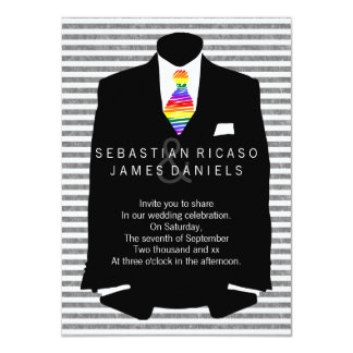 "Mr and Mr Suit and Rainbow Tie Gay Wedding 4.5"" X 6.25"" Invitation Card"
