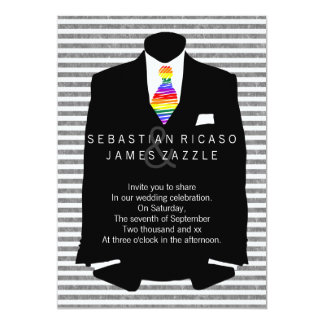 """Mr and Mr Suit and Rainbow Tie Gay Wedding 5"""" X 7"""" Invitation Card"""