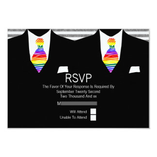 """Mr and Mr Suit and Rainbow Tie Gay Wedding RSVP 3.5"""" X 5"""" Invitation Card"""