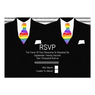 Mr and Mr Suit and Rainbow Tie Gay Wedding RSVP Custom Invites