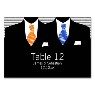 Mr and Mr Suit and Tie (orange / blue) Gay Wedding Table Card