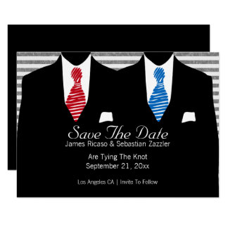 Mr and Mr Suit Blue Red Tie  Save The Date Wedding Card