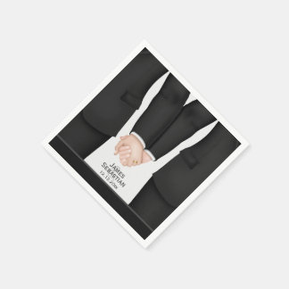 Mr and Mr suit Gay Wedding Paper Napkins