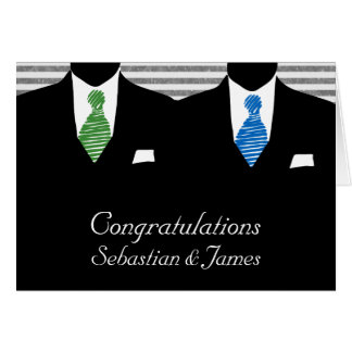 Mr and Mr, Two Grooms Wedding Congratulations Card