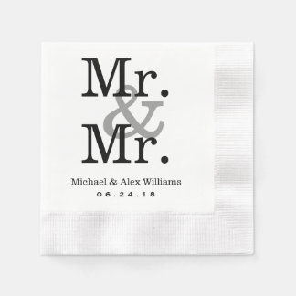 Mr. and Mr. Wedding Napkins | Custom Monogram Paper Napkin