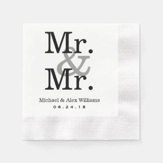 Mr. and Mr. Wedding Napkins   Custom Monogram Paper Napkin