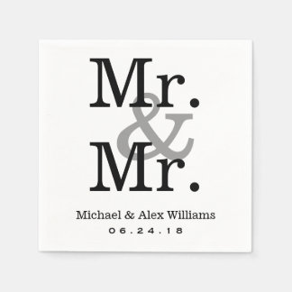 Mr. and Mr. Wedding Napkins | Custom Monogram Paper Napkin