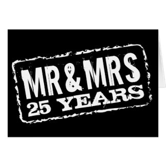 Mr and Mrs 25th Wedding Anniversary Cards