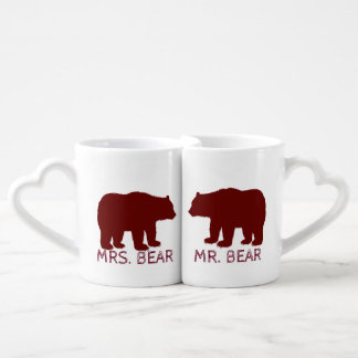 Mr and Mrs Bear Free Hugs Cabin Theme Coffee Mug Set