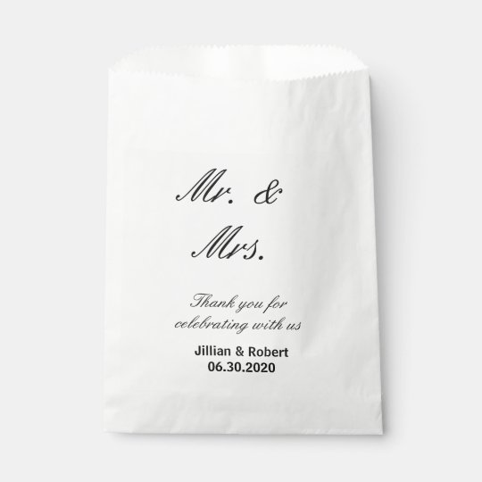 Mr. and Mrs. Black and White Wedding Favour Bags