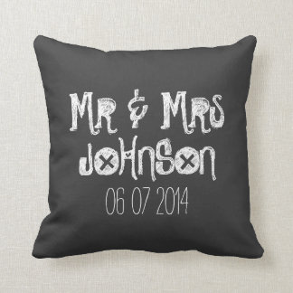 Mr and Mrs black chalkboard wedding throw pillow
