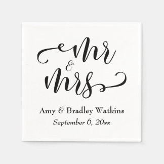 """Mr and Mrs"" Black on White Typography Wedding Paper Napkin"