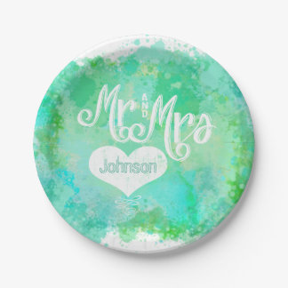 Mr. and Mrs. Blue Green Watercolor Style Paper Plate