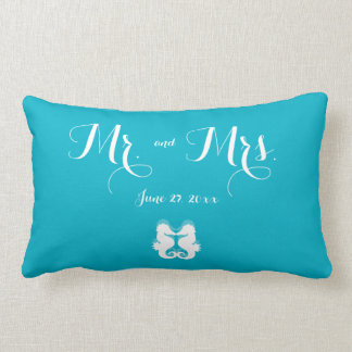 Mr. and Mrs. Blue White Seahorse Wedding Pillows