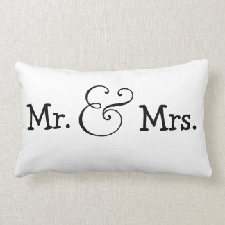 Mr and Mrs Bride And Groom Wedding Gift Lumbar Pillow