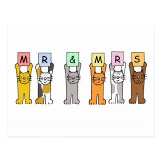 Mr and Mrs cats wedding congratulations. Postcard