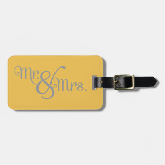 Mr. and Mrs. Classy Grey on Yellow Luggage Tag