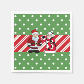 Mr and Mrs Claus Christmas Party Paper Napkins