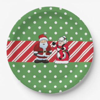 Mr and Mrs Claus Christmas Party Paper Plates