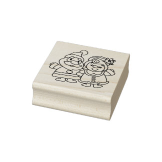 Mr and Mrs Claus Christmas Rubber Stamp
