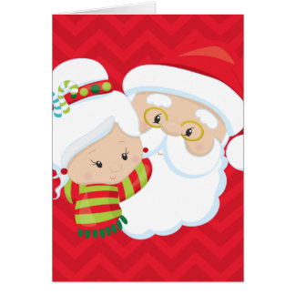 Mr and Mrs Claus on Red Chevron Background Card