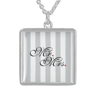 Mr. and Mrs. Click to Customize Color Stripes Square Pendant Necklace