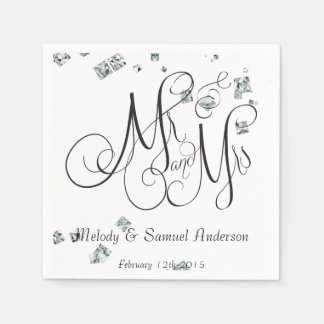 Mr and Mrs | Diamond Confetti Napkins Paper Napkin