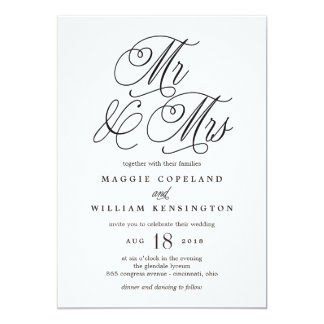 Mr and Mrs Elegant Wedding Invitation