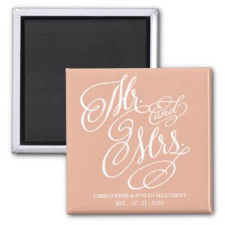 Mr. and Mrs. Fancy Script Beautiful Blush Wedding Magnet