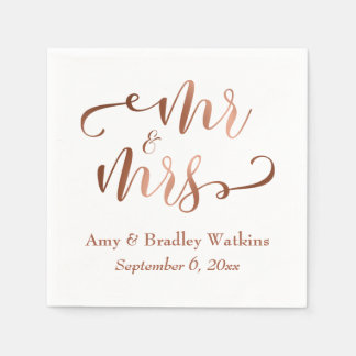 """Mr and Mrs"" Faux Copper Typography Wedding Paper Napkin"