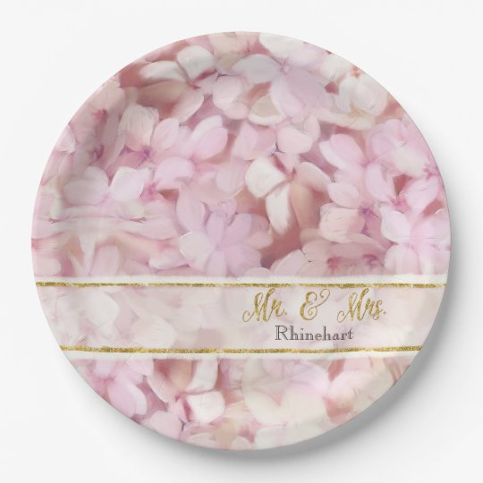 Mr. and Mrs. Faux Gold Glitter Pink Hydrangeas 9 Inch Paper Plate