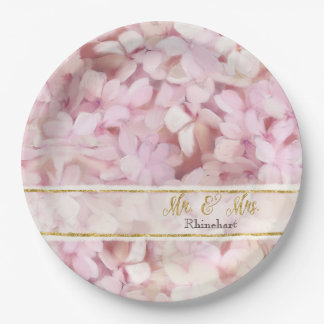 Mr. and Mrs. Faux Gold Glitter Pink Hydrangeas Paper Plate