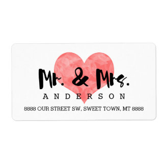 Mr. and Mrs. Faux Pink Hand Stamped Heart Wedding Shipping Label