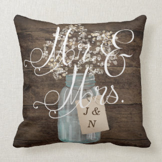 Mr. and Mrs. Floral Rustic Personalized Wedding Throw Pillow