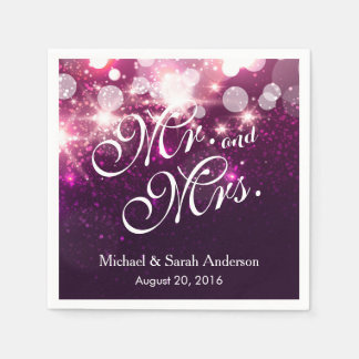 Mr. and Mrs. - Glam Pink Glitter Sparkling Wedding Disposable Napkin