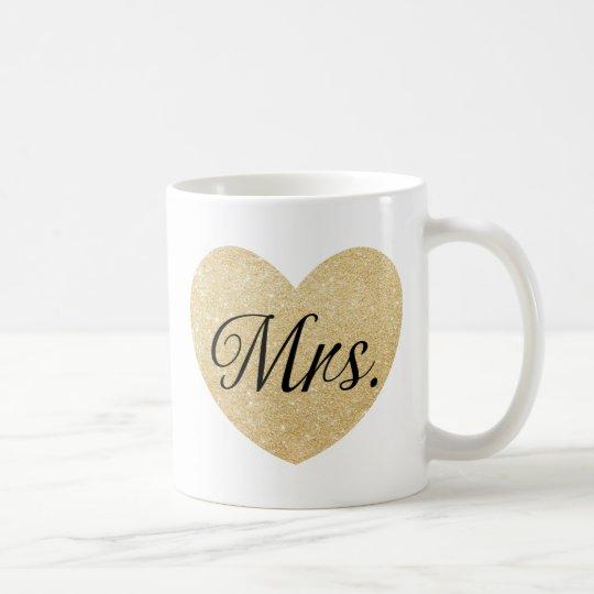 Mr.and Mrs. glitter golden heart personalized2 Coffee Mug