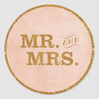 Mr. and Mrs. Gold and Coral Wedding Sticker