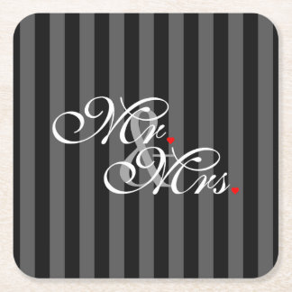 Mr. and Mrs. Husband Wife His Hers Newly Weds Square Paper Coaster