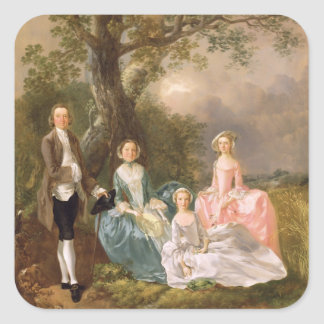 Mr and Mrs John Gravenor and their Daughters, Eliz Square Sticker
