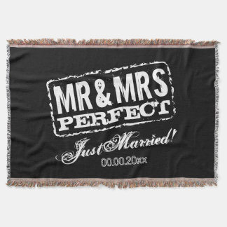 Mr and Mrs Just Married blanket gift for newlyweds Throw Blanket