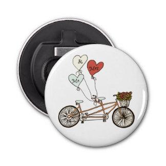 Mr. and Mrs. love tandem bike bottle opener Button Bottle Opener