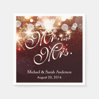 Mr. and Mrs. Luxury Gold Glitter Sparkles Wedding Paper Napkins